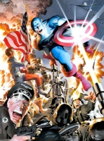 Captain America, over Kirby Comic Art