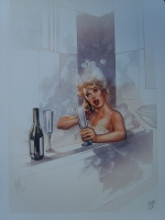 Girl in a bath by Adam Hughes and Nei(blond hair) Comic Art