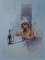 Girl in a bath by Adam Hughes and Nei(brunette) Comic Art