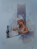Girl in a bath by Adam Hughes Nei (Red Head) Comic Art
