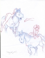 Mandy Godiva Getting On The Horse Comic Art