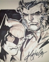 Ken Lashley - Batman & Wolverine sketch - 2010 Comic Art