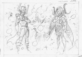 Wellinton Alves Galactus & Eternity prelim Comic Art