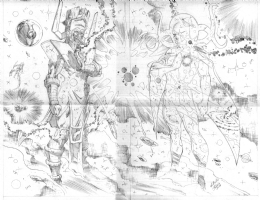 Wellinton Alves Galactus with heralds & Eternity pencils Comic Art