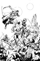 John Carter and Dejah Thoris in battle Comic Art