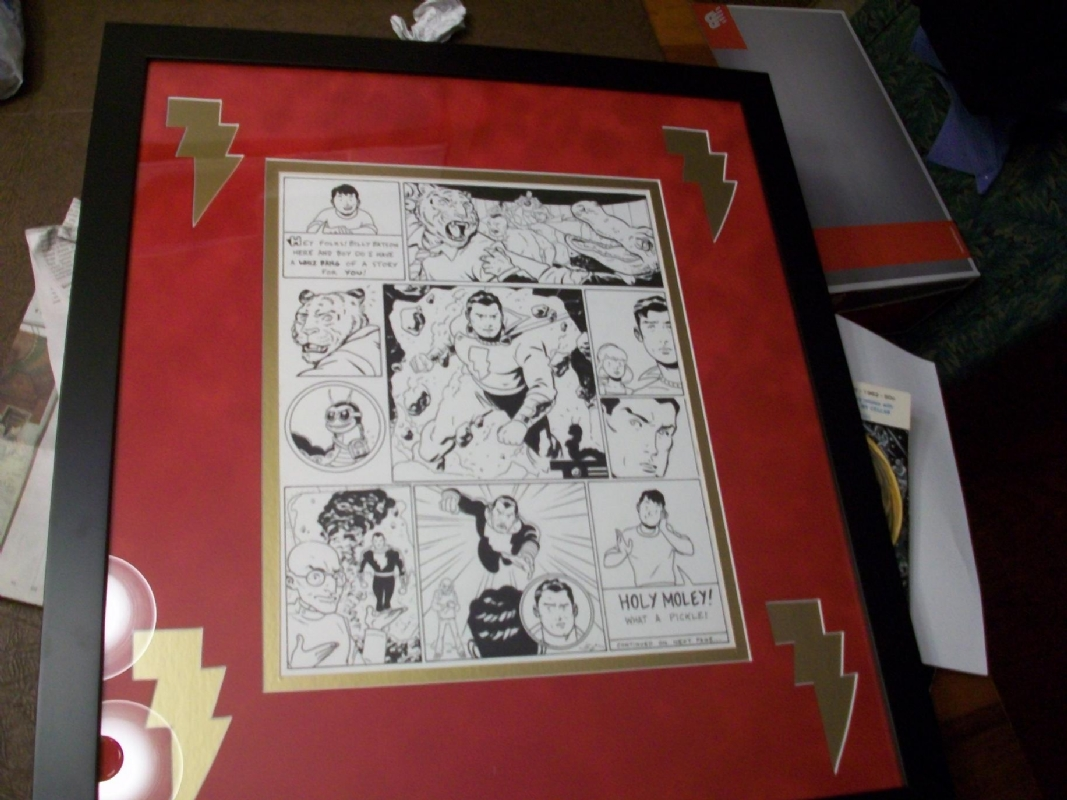 Framed Version of Evan Shaner Captain Marvel (Shazam) Piece by Lance Sawyers Comic Art