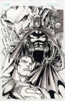 Ken Lashley - Superman and Batman vs. Darkseid and Joker Comic Art