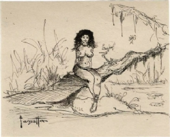 Frazetta  Seated Woman On a Tree  Comic Art