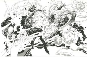 Alex Nino Thor Versus Loki Comic Art