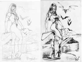 VAMPIRELLA pinup by CASOTTO/BUZZ Comic Art