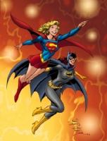 Classic Supergirl & Batgirl - in color! Comic Art