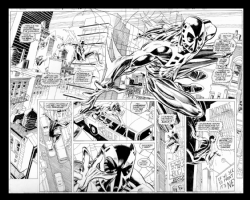 Spiderman 2099-Spiderman one shot pages 10&11 splash by Rick Leonardi Comic Art