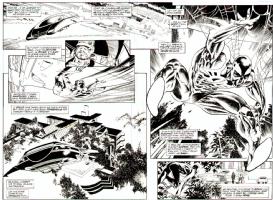 Spiderman 20099 double splash by Rick Leonardi  Comic Art