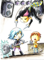 2010 Ramona Flowers vs Knives Chau (with Scott Pilgrim watching) by Agnes Garbowska, Comic Art