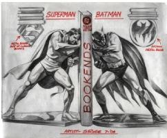 WF Superman Batman Bookends Comic Art