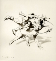 Frazetta VIOLENT BATTLE FOR  NUDE DAMSEL '72  Comic Art