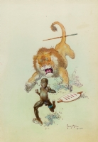 Jungle Trouble Frazetta watercolor Comic Art