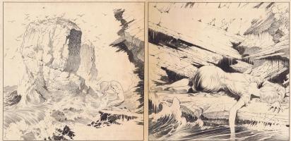 The City in the Sea  Classic Frazetta ink! Comic Art
