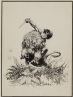 Frank Frazetta: Tarzan and Numa Canaveral Plate Comic Art