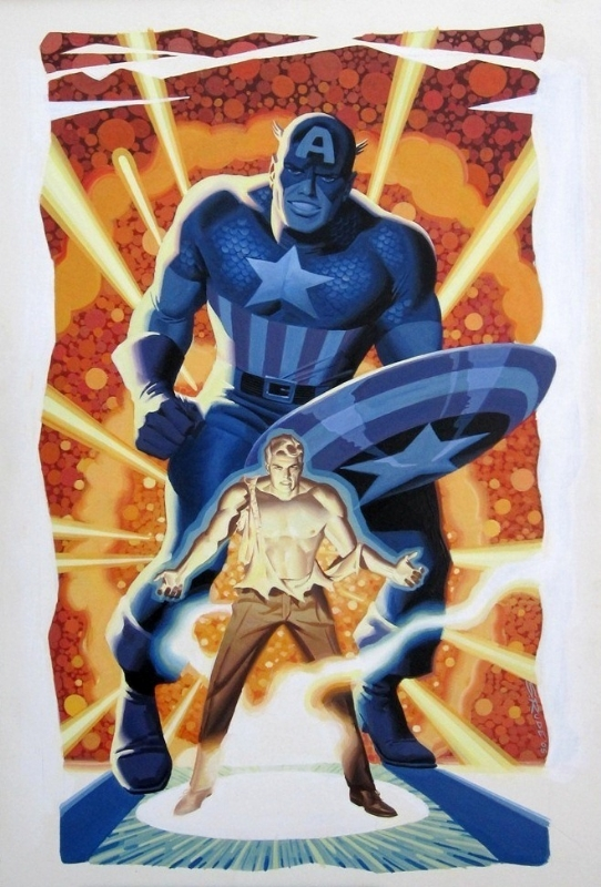 Captain America watercolor painting by Steve Rude Comic Art