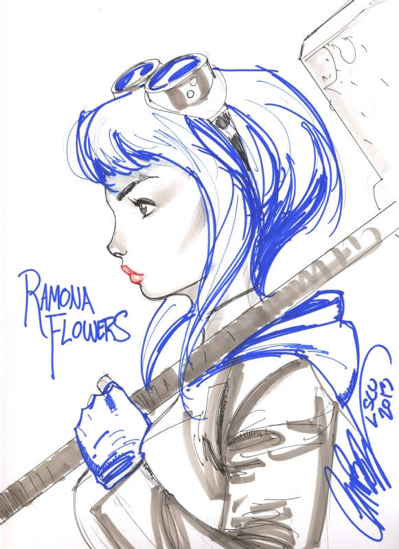 Ramona Flowers by Jeff Scott Campbell, London Super Comic Con 2013. Comic Art