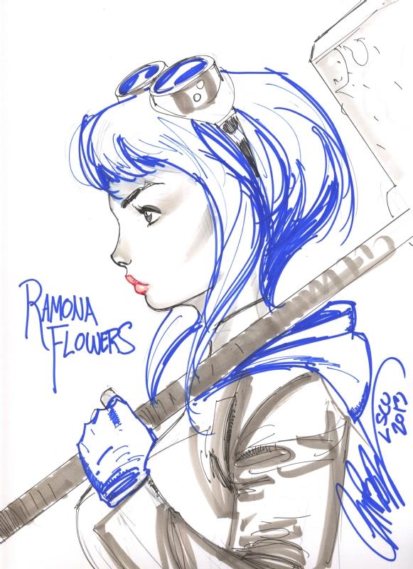 Ramona Flowers by Jeff Scott Campbell, London Super Comic Con 2013. Comic Art