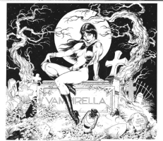 Vampirella on tombstone Comic Art