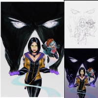 Phantom Lady and Doll Man(o) Comic Art