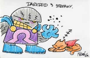 Darkseid vs Streaky the Supercat, by Franco Aureliani, Comic Art