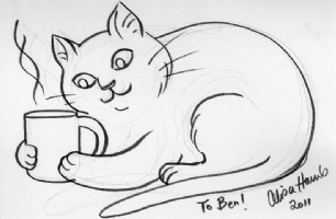 Cat and coffee, by Alisa Harris Comic Art