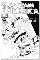 Captain America #291 cover redo, by Fred Hembeck, Comic Art