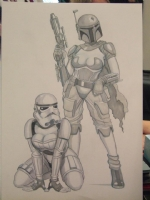 Boba Fett & Stormtrooper pin-up style.. Comic Art