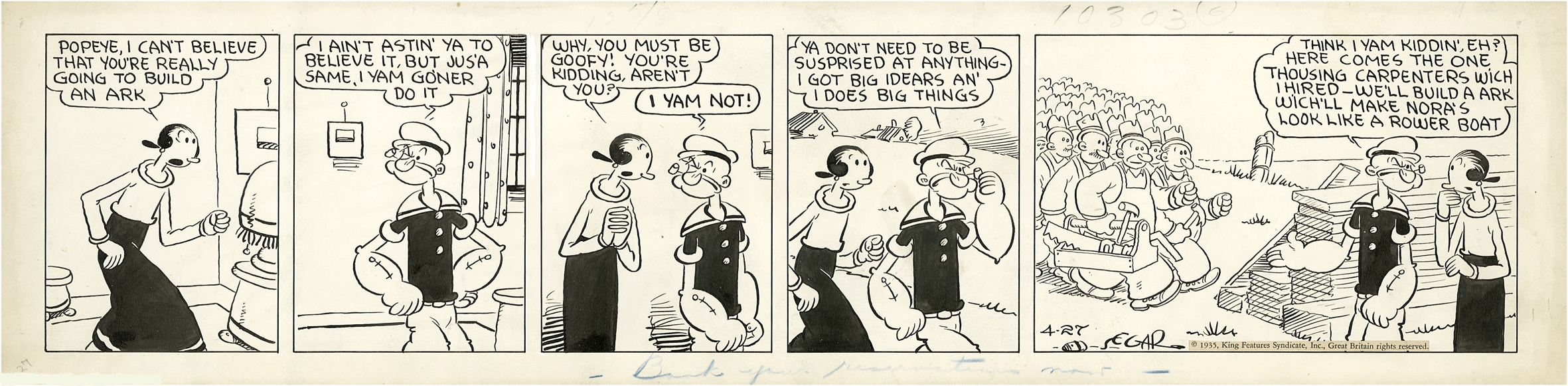 Elzie Segar Popeye 1935 daily Comic Art