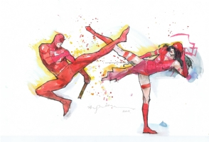 Daredevil vs Elektra by Bill Sienkiewicz Comic Art
