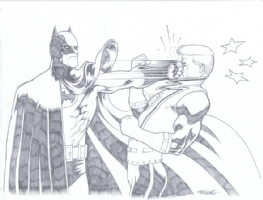 Batman punching Guy Gardner by Kevin Maguire Comic Art