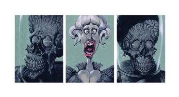 MARS ATTACKS Tryptic -  Comic Art
