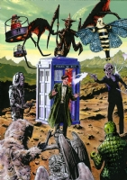 Dr Doctor Who - Matt Smith and Various Monsters Comic Art