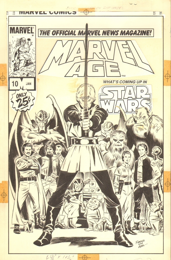 Star Wars Marvel Age #10 Cover - Luke and Company - Ron Frenz Comic Art
