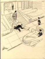 Butler Chasing Car by Vic Herman Comic Art