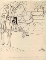 Mermaid at the Beach by Vic Herman Comic Art