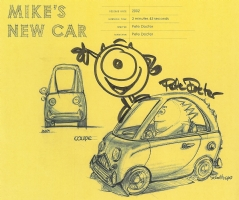 Mike's New Car sketch by Pete Docter, Walt Disney Family Museum 2014, Comic Art