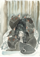 Tomm Moore: Aisling and wolves (The Secret of Kells) watercolor, Comic Art
