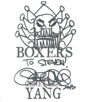 Boxers sketch by Gene Yang, San Jose 2013, Comic Art