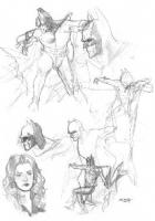 Ryan Sook: Batman Heroclix box poses Comic Art