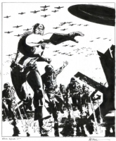 Captain America on D-Day - Michael Lark Comic Art