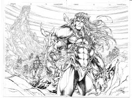 Michael Turner - Fathom #8 Page 21/22 Spread Comic Art