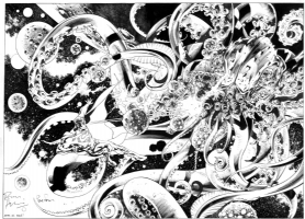 Bryan Hitch - Superman Space Battle Illustration  Comic Art