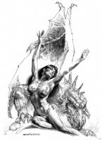 Boris Vallejo - Dragon & Maiden - Pencil Tone Commission Comic Art