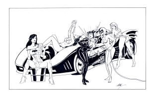 Batmobile Carwash Comic Art