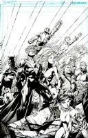 Justice League International Cover #6 David Finch pencils Richard Friend inks, Comic Art
